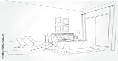 Linear Sketch Of An Interior Room Plan Sketch Line Bedrooms