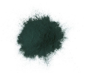 Spirulina algae powder isolated on white background, Super food concept. Top view