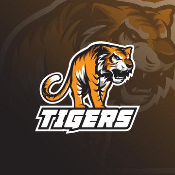 Beast tiger mascot logo design vector with badge emblem concept for sport, esport and team.