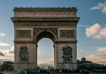 Beautiful view of the Arc de Triomphe at sunset, Paris, France