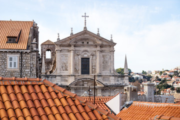 View over the roofs of Dubrovnik and church St. Stepan, Croatia