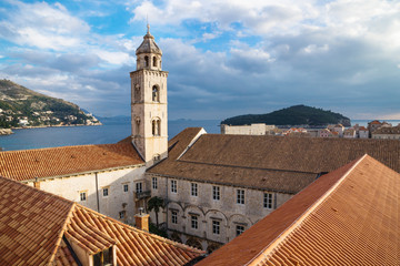 Tower and yard of the Dominican Monastery in Dubrovnik with ocean view, Croatia