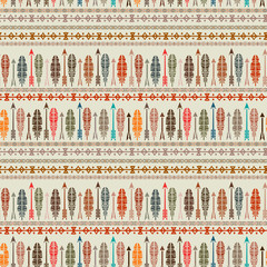 Ethnic seamless pattern, feathers, arrows