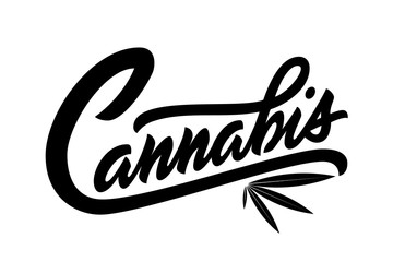 Lettering cannabis for ads, logo, banners