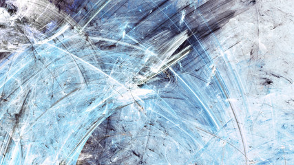 Frosty pattern. Artistic splashes of bright paints. Abstract blue color winter background with lighting effect. Modern painting texture for creative graphic design. Shiny pattern. Fractal artwork
