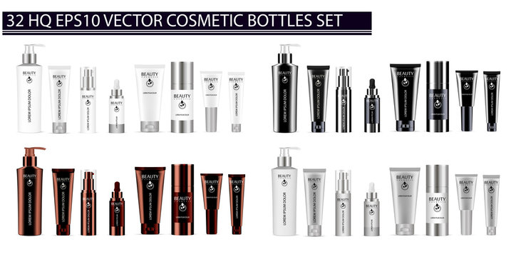 Luxury color 32 pcs. cosmetics bottle set: dispenser, dropper, cream tubes, deodorant. Vector cosmetic mockup package design. Sample label and logo included.