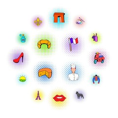 Paris set icons in comics style on a white background