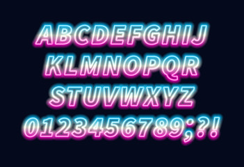 Blue pink gradient neon alphabet on a dark background . Bright font for decoration.Capital letter.