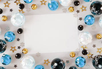 Christmas card mockup with blue baubles 3D rendering