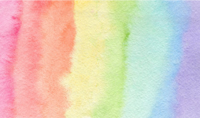 Tender rainbow colors watercolor background, wash technique. Colorful horizontal gradient wallpaper for lgbt design, bright summer banner