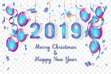 Confetti and Titanium rainbow ribbons celebration Merry Christmas and Happy New Year 2019 on transparent background as template concept. vector illustration