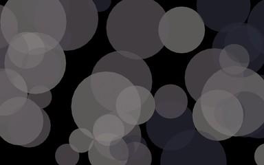 Multicolored translucent circles on a dark background. Gray tones. 3D illustration