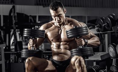 guy bodybuilder with dumbbell