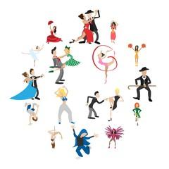 Dances cartoon icons set isolated on white background