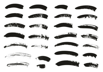 Calligraphy Paint Brush Curved Lines High Detail Abstract Vector Background Set 56