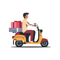 man courier riding scooter with gift box present holiday celebration concept isolated flat vector illustration