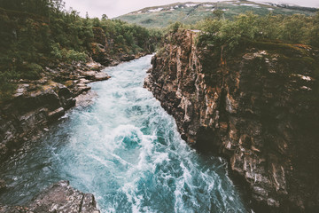 Recess Fitting Forest river Sweden landscape canyon river Abiskojakka travel aerial view Abisko national park wilderness nature summer season scandinavian scenery
