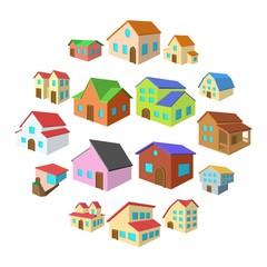Houses cartoon icons set isolated on white background