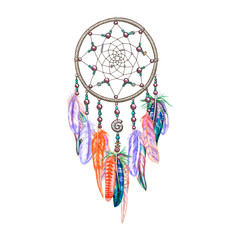Colorful dreamcatcher and feathers isolated on white background. Native american indian amulet. Colorful vector illustration.