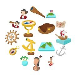Happy Columbus Day cartoon icons set isolated on white background
