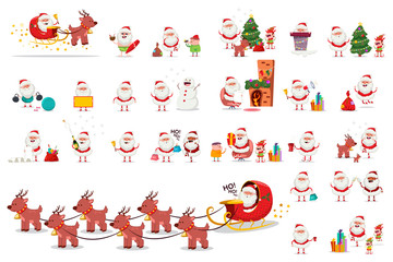 Cute Santa Claus, Christmas tree, reindeer, elf and snowman in different actions. Vector cartoon holiday character set isolated on white background.