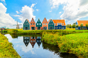 Volendam is a town in North Holland in the Netherlands. Colored houses of marine park in Volendam. North Holland, Netherlands.. Fototapete