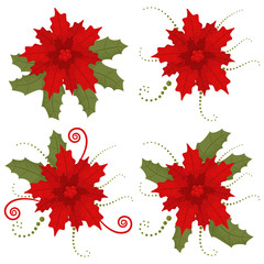 Poinsettia Christmas flower. Vector cartoon set of holiday decorative elements isolated on a white background.