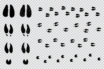 Deer and moose tracks black silhouette. Vector animals footprint set isolated on a transparent background.