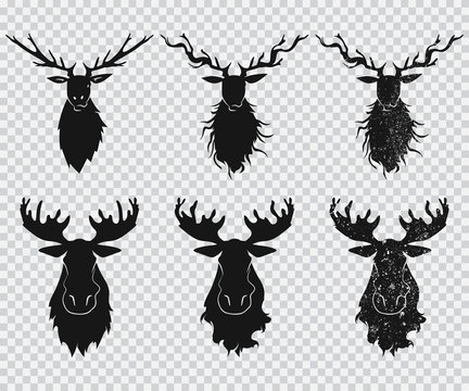 Deer and elk head with antlers black silhouette. Vector icons set isolated on a transparent background.
