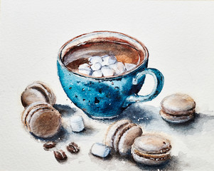 Christmas cup of hot chocolate cocoa with marshmallow and macaroons  on white background in watercolor.