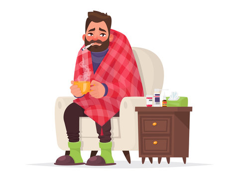 Sick man. Flu, viral disease. Vector illustration