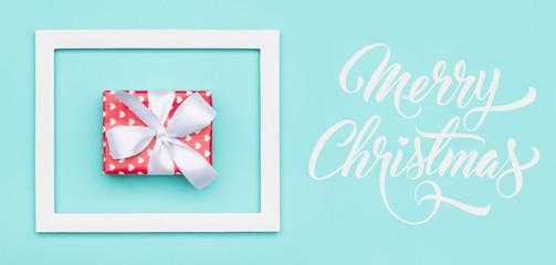 Christmas banner. Pastel blue festive winter holidays backdrop.