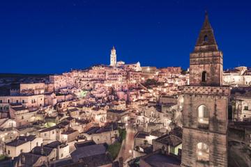 Matera ancient town i Sass night view, Unesco site landmark. Basilicata, Italy.