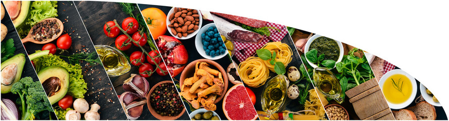 Collage. Background of vegetables, fruits and spices. Top view. On a wooden background.