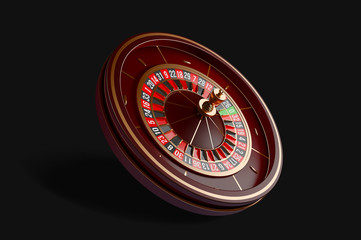 Luxury casino roulette wheel isolated on black background. 3d realistic vector illustration. Online casino roulette gambling concept design.