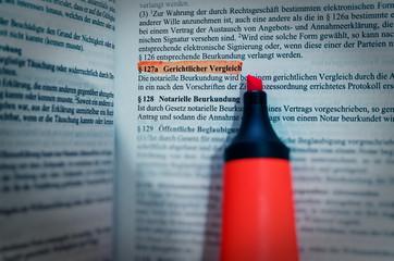 Gesetzestext in deutsch Paragraph § 127a BGB Bürgerliches Gesetzbuch Gerichtlicher Vergleich in englisch Paragraph § 127a BGB Civil Code Judicial settlement