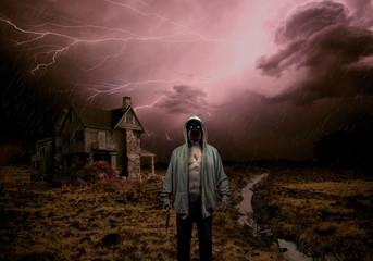 Evil Demon Zombie Ghost Monster Holding Knife In Outside Haunted House In Lightening Storm
