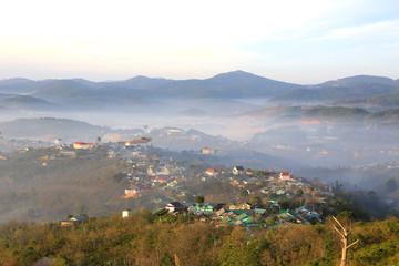 Village in mountain in mist day - Dalat, Vietnam