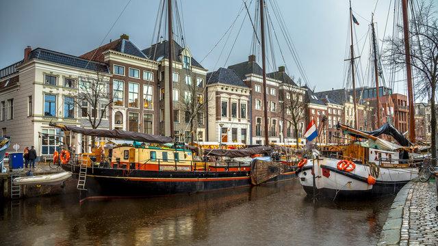 Historic sailing ships at Hoge der Aa Groningen