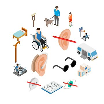 Disabled people care set in isometric 3d style isolated on white background