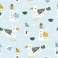 Cute seamless sea pattern with lighthouse, gull, waves and houses.