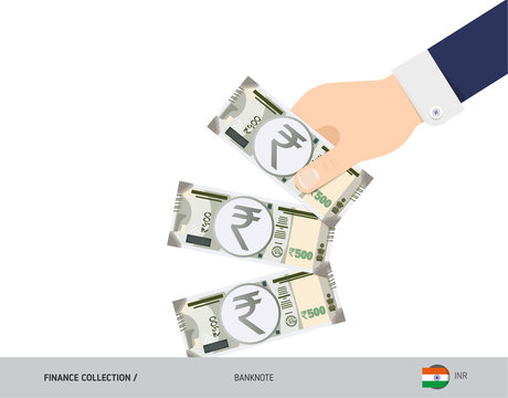 500 Indian Rupee Banknotes. Hand throwing banknotes. Flat style vector illustration. Waste of money concept.