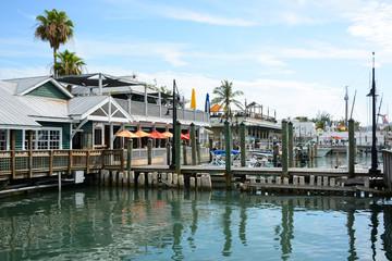 KEY WEST, FL, USA - APRIL 23, 2018: Historic seaport Harbor Walk on Key West island on the south of Florida