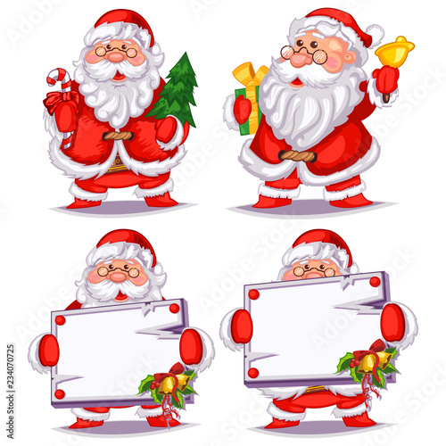 Santa Claus Cartoon Set With A Christmas Tree Gift Bell Candy