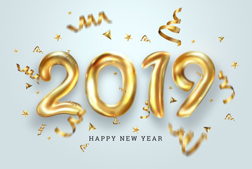 Creative background, Gold numbers Balloons on a light background, 2019 Happy new year, Number Ball, Air Filled Balloon. New year balloon for decoration, celebration, congratulation. copy space.