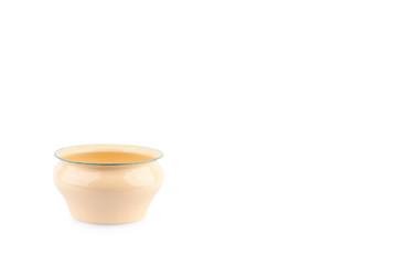 vintage enamelled spittoon thai style on white background kitchenware object isolated