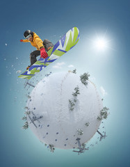 Winter Sport concept. Winter background. Young man jumping on board on white winter planet. 3d illustration in realistic style.