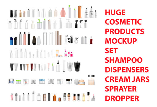 Huge cosmetic mockup set of different product containers: shampoo bottles, spray, dispenser, pump, cream jars, tubes. Realistic 3d vector illustration.