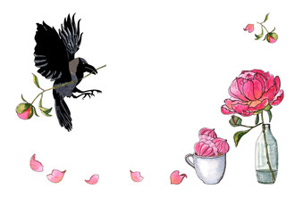 Watercolor hand drawn illustration of a flying crow with peony flower, big peony in bottle, cup with meringues isolated on white. Decoration for menu, greeting card.