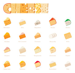Vector cheese types icon set